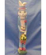 Easter Figurine White Blue Boy Pencil Bunny with Flowers and Easter Egg - $12.95