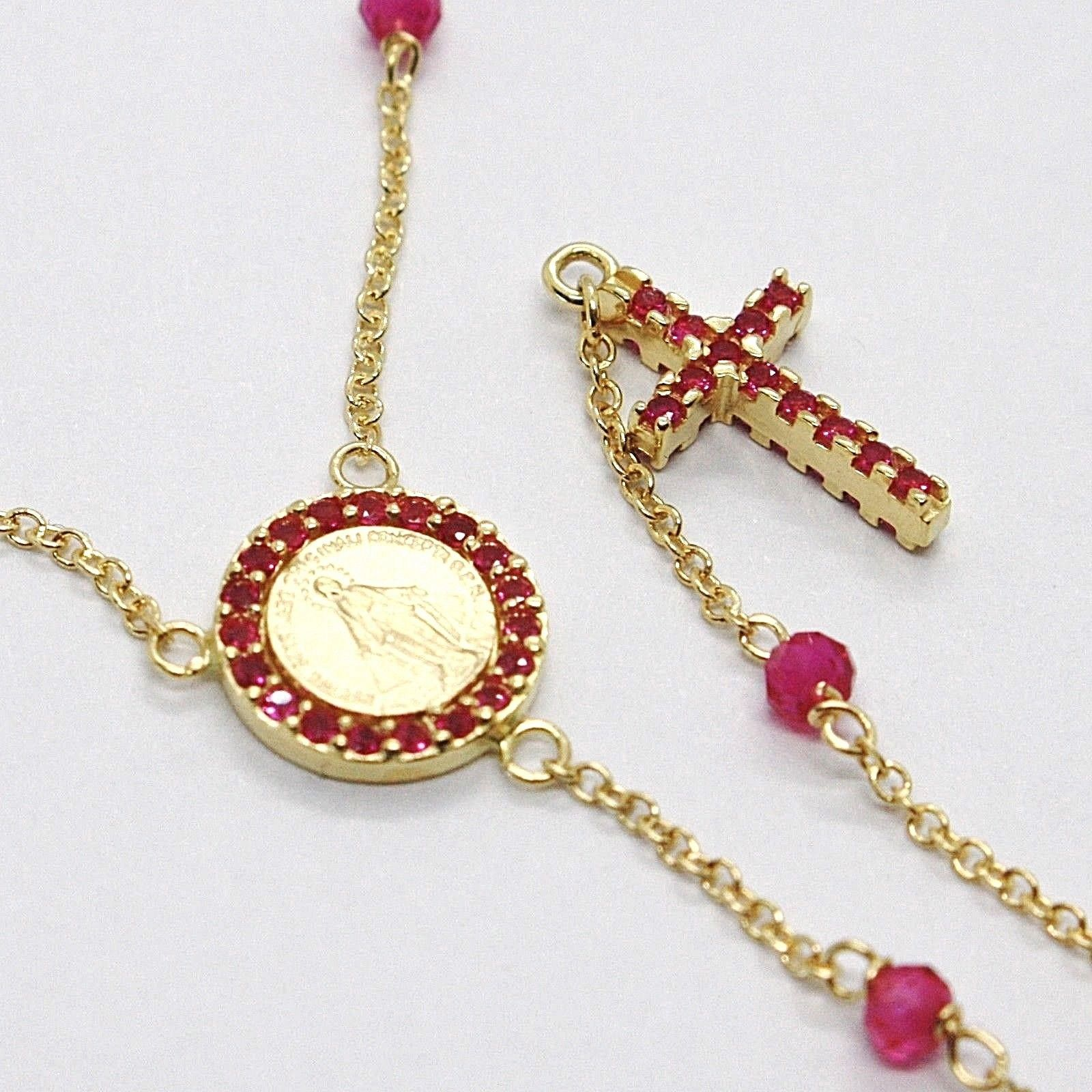18K YELLOW GOLD ROSARY NECKLACE, FACETED RED RUBY ROOT, CROSS & MIRACULOUS MEDAL