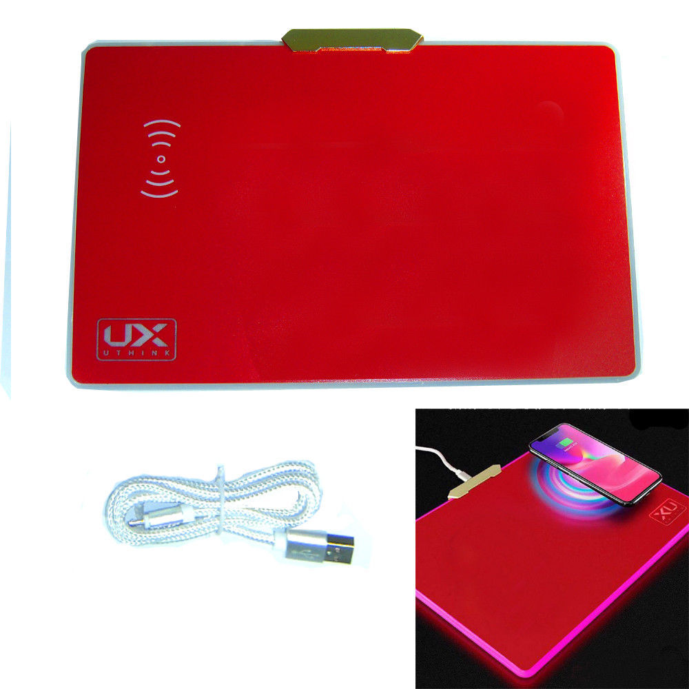 UX W-01 LED Qi Wireless Charger Charging Mouse Pad Mousepad Mat for Note 8 S9 X