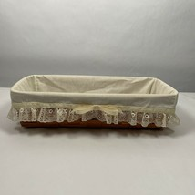 Vintage1992 Longaberger Bread Basket Muslin Cream Lace Liner with Bow  - $25.00