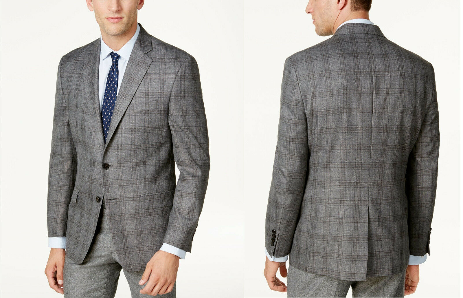 Primary image for Lauren Ralph Lauren  Classic-Fit Gray Plaid Ultraflex Sport Coat, Size 38 R,$350