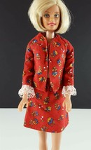 Barbie Red Floral Cotton 2 Piece Skirt & Jacket Clone 1960s Clothing - $19.79