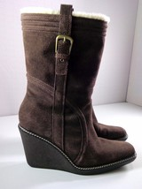 Cole Haan Women's Mid-Calf Wedge Boots Brown Suede Waterproof Pull On Si... - $89.95