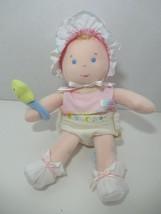 Eden vintage plush baby doll wears diaper pink shirt bonnet star rattle toy  - $24.74