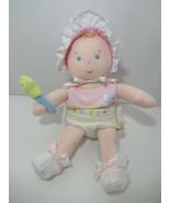 Eden vintage plush baby doll wears diaper pink shirt bonnet star rattle ... - $24.74