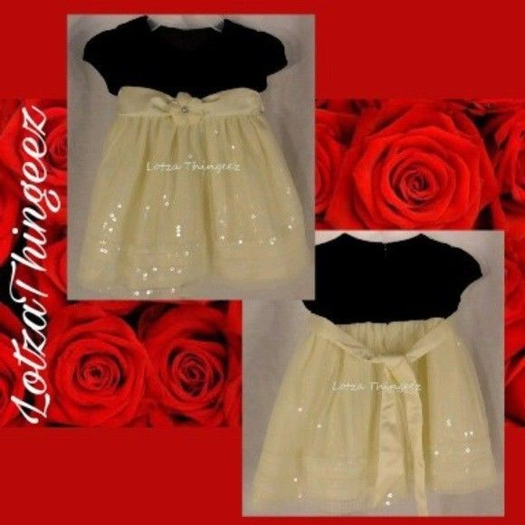 New Cinderella Formal Dress Black Velvet Ivory Satin Sequence Flower 12 Mos