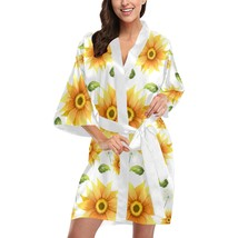 Sunflower Flower Floral Short Kimono Robe Bridal Bridesmaid Wedding - $59.00