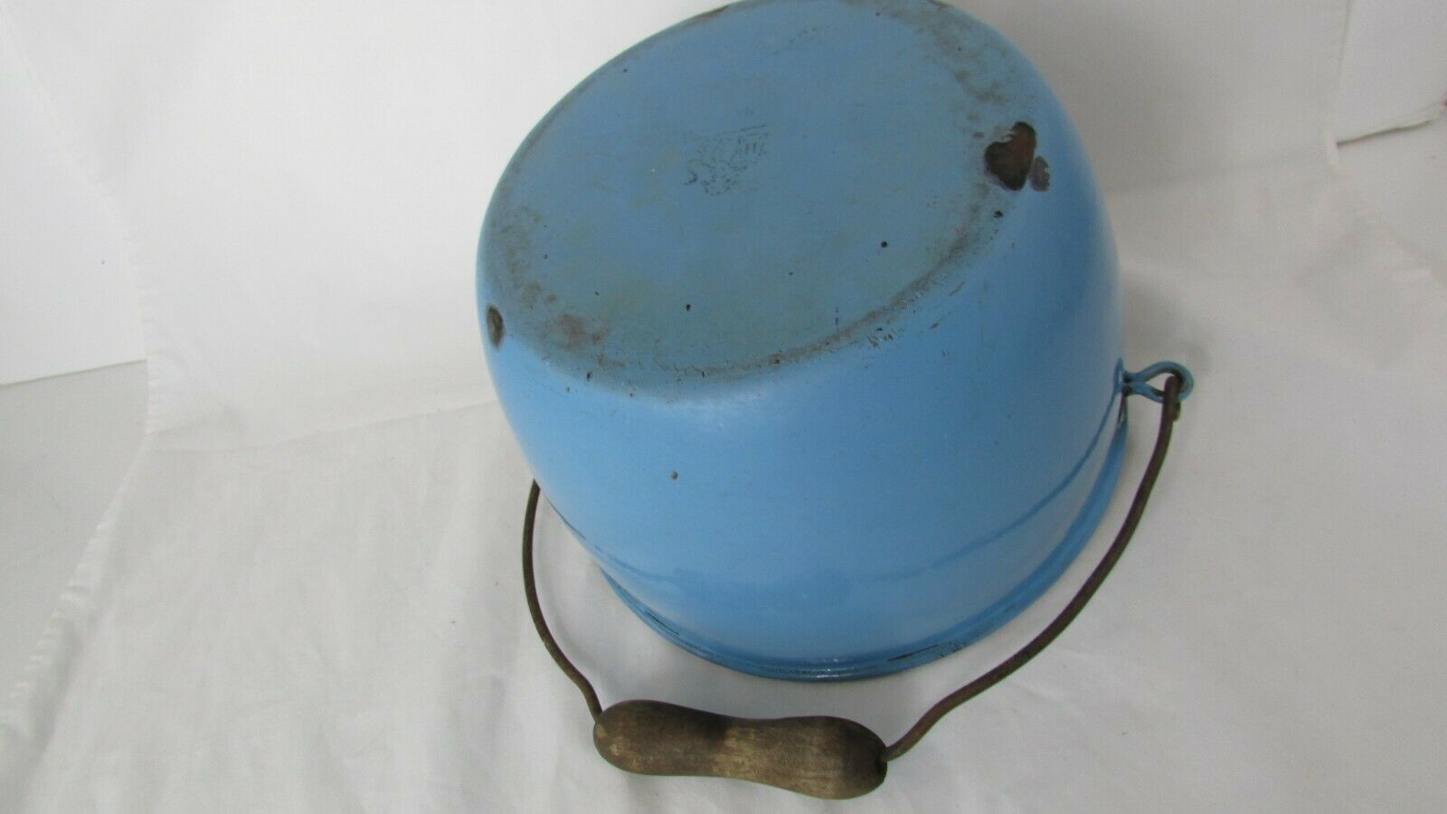 Vintage Enamel  Pail Bucket Blue and White Enamelware With Wooden Handle image 9