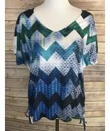 I N San Francisco Women XL Blue Green Short Sleeve Top Geometric Casual  - $15.68