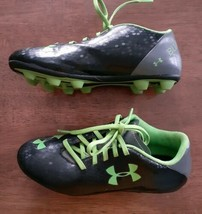 Under Armour Blur Flash Soccer Cleats Youth Boys Sz 3 Black Green Gray Outdoor  - $14.99