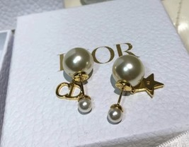 NEW Authentic Christian Dior 2019 CD LOGO STAR DANGLE DOUBLE PEARL Earrings image 5