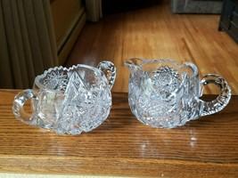 American Brilliant Period Cut Creamer and Sugar Set Lots of Fine Diamond... - $32.95