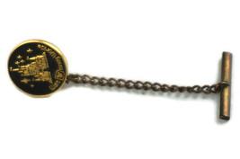 Vintage Tie Pin Walt Disney World Productions Black Gold Tone Castle - $13.99