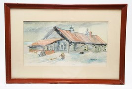 David McArthur Original Pastel Drawing on Paper Country House Winter Scene  - $74.25