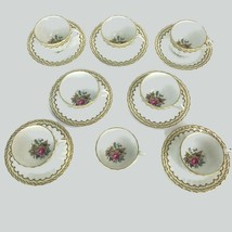 Vintage Royal Worcester England Floral Center Kempsey 8 Tea Cups & 7 Sau... - $102.81