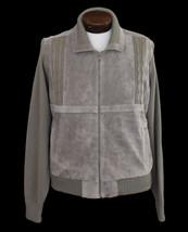 Vintage 70s Men's Suede Paneled Zip Front Cardigan Sweater Jacket Large ... - $69.99
