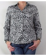 Black & White Floral Charter Club Blouse 14 L size Nice Cotton blend Wom... - $16.47
