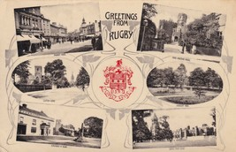 Greetings From Rugby Red Crest Hallmark Real Photo Old Postcard - $9.99