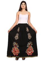 Comfortable Rajasthani Printed Vibrant Color Cotton Straight Maxi Skirt - $18.69