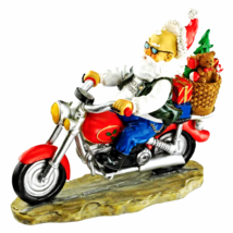 Old School Father Chrixtmas Santa biker Statue - $42.39