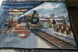 "TRAIN STATION TAPESTRY Throw/Blanket 56""x44"" Ivorydale by Northwest P&G - $29.69"
