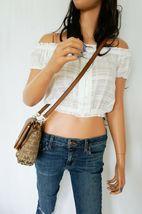 Michael Kors Bedford Small Flap Crossbody Jacquard Leaher Bag MK Beige Brown image 4