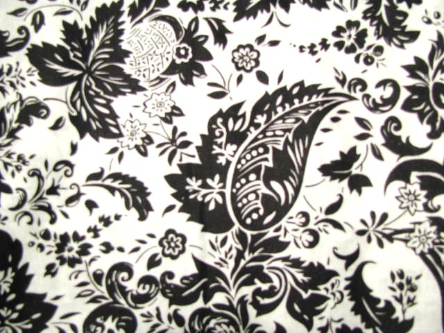 David Textiles Black Leaves on White Cotton Fabric  3 yards