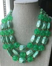 Bright Green Glitter Pearlescent Triple Layer Beaded Statement Choker Ne... - $12.86