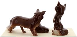 Hagen-Renaker Miniature Ceramic Figurine Fox Baby, Mama & Papa 3 Piece Set image 2