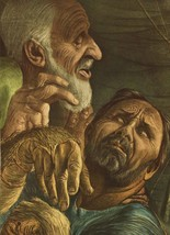 "Guy Rowe. ""Isaac & Jacob"". Vintage 1949 Religious Biblical Lithograph Pr... - $12.00"