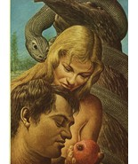 """Guy Rowe. """"Adam & Eve"""". Vintage 1949 Religious Biblical Lithograph Print... - $19.31"""
