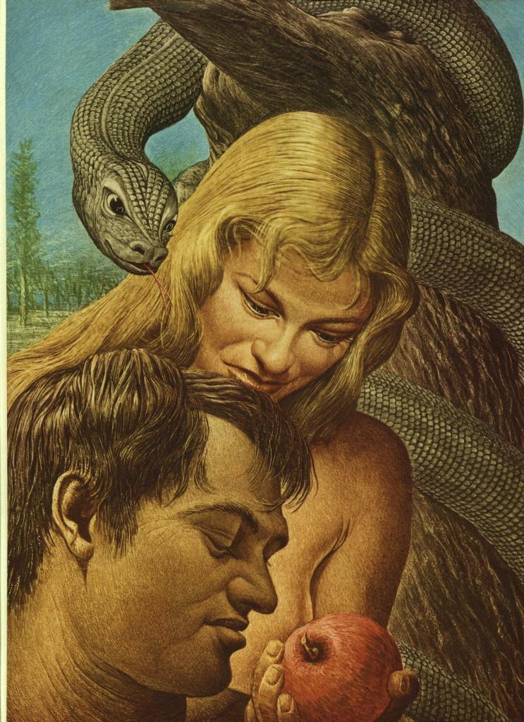 """Guy Rowe. """"Adam & Eve"""". Vintage 1949 Religious Biblical Lithograph Print. 9 X 12"""