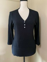 By Design Black 3/4 Sleeve Henley Knit Sweater Jewel Button Banded Ends ... - $13.54