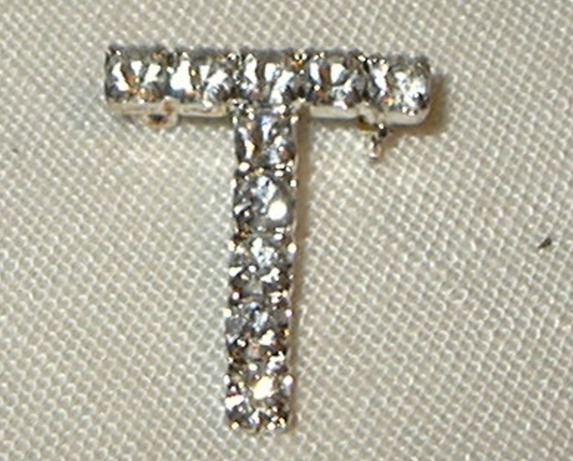 j263 Initial T Clear White Rhinestone Initial Pin Brooch