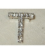 j263 Initial T Clear White Rhinestone Initial Pin Brooch - $6.98