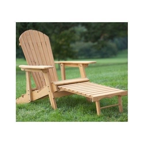 Reclining Adirondack Chair with Pull Out Ottoman w Back Natural Finish Outdoors
