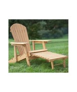 Reclining Adirondack Chair with Pull Out Ottoman w Back Natural Finish O... - $137.99