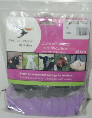 Destron Fearing DuFlex Visual ID Livestock Panel Tags Purple Blank Large 25 Sets