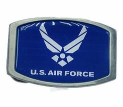 Military Belt Buckle vtg Great American pewter US air force blue star usaf pilot - $17.77