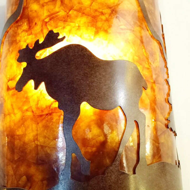 Moose Silhouette Mica Wall Sconce Light Cottage Cabin Lodge Country Lighting