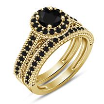 Women's 14k Yellow Gold Plated Round Cut Black CZ Bridal Wedding Ring Set 5 6 7 - $87.99