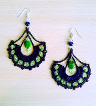 Baroque Peacock Crocheted Earrings with beads - $22.00