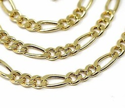 """18K GOLD FIGARO GOURMETTE CHAIN 4 MM WIDTH, 20"""", ALTERNATE 3+1 NECKLACE  image 2"""