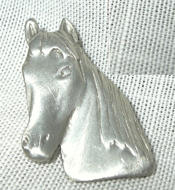 j37 Pewter Horse Head Tie Tac Lapel Pin Brooch Equestrian