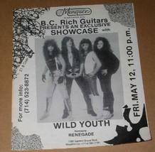 Wild Youth Renegade Band Vintage 1980's Concert Flyer Marquee  Garden Grove CA - $24.99