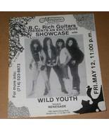 Wild Youth Renegade Band Vintage 1980's Concert Flyer Marquee  Garden Gr... - $24.99