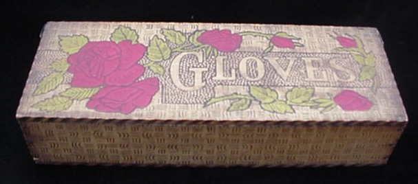 Antique Pyrography Wooden Wood Glove Box w/ Roses