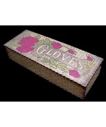 Antique Pyrography Wooden Wood Glove Box w/ Roses  - $14.50