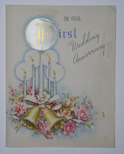 VINTAGE 1945 RUST CRAFT ANNIVERSAY GREETING CARD