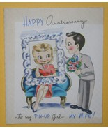 VINTAGE 1940'S ANNIVERSAY PIN-UP GIRL GREETING CARD - $9.99